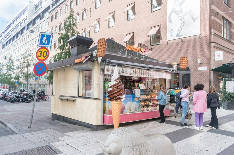 Donuts Jafaris shop with icecreams and donuts stock photography