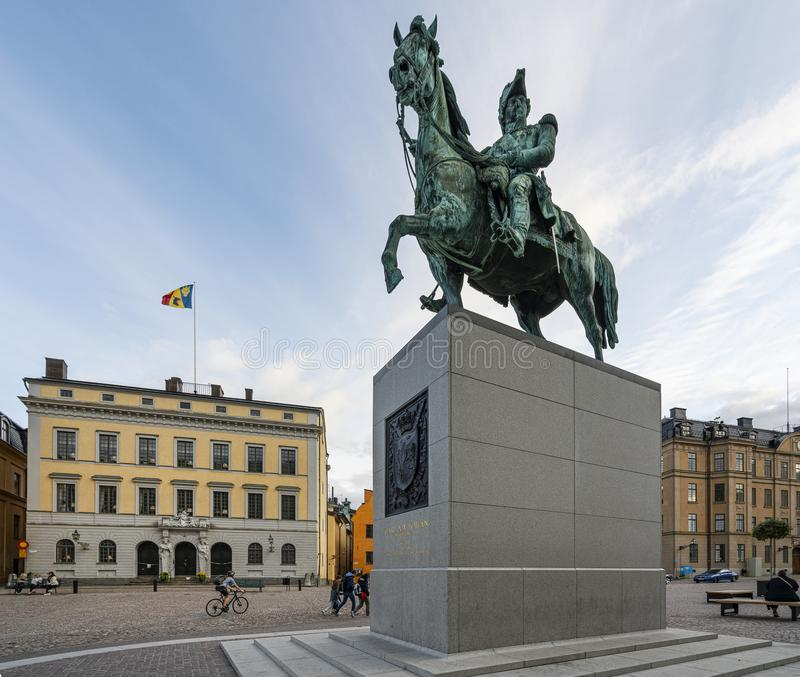 Karl XIV Johan`s Statue in Stockholm stock photography