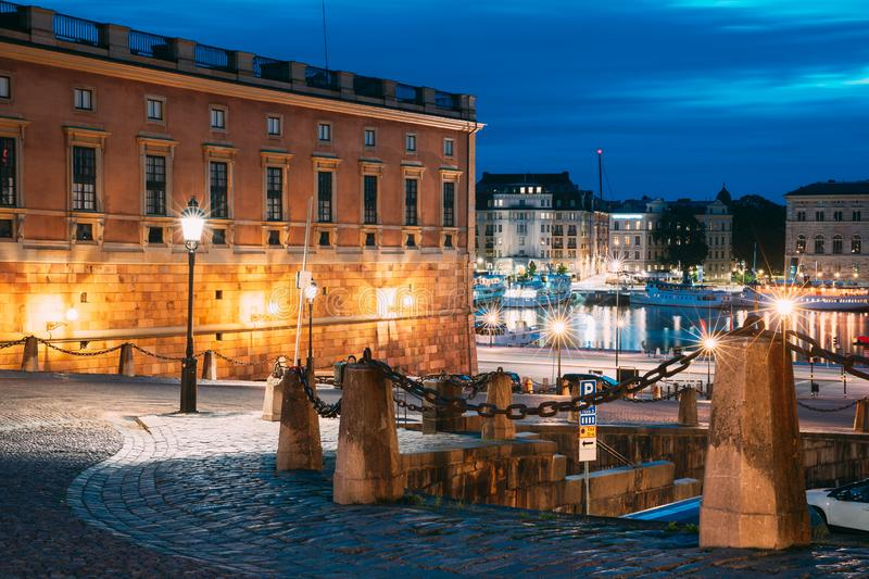 Stockholm, Sweden. Slottsbacken In Old Town Gamla Stan. Famous Popular Destination Scenic Place In Night Lights.  stock photo