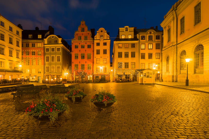 Stockholm, Sweden - Stortorget in Gamla Stan Old Town. Stockholm, Sweden - Stortorget in Gamla Stan at Night royalty free stock photography