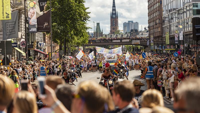 Europride parade at crowded street Stockholm. Stockholm, Sweden, 4th august 2018. Europride parade at the crowded street Vasagatan in Stockholm, Sweden stock photos