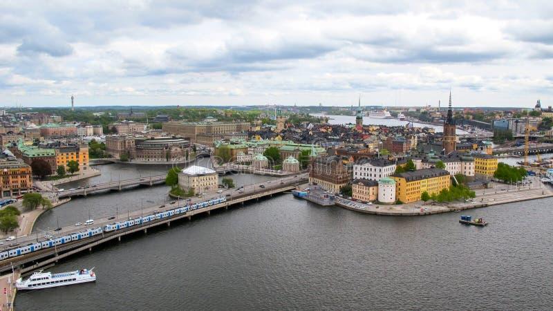 stockholm sweden Underbar flyg- panorama arkivbilder