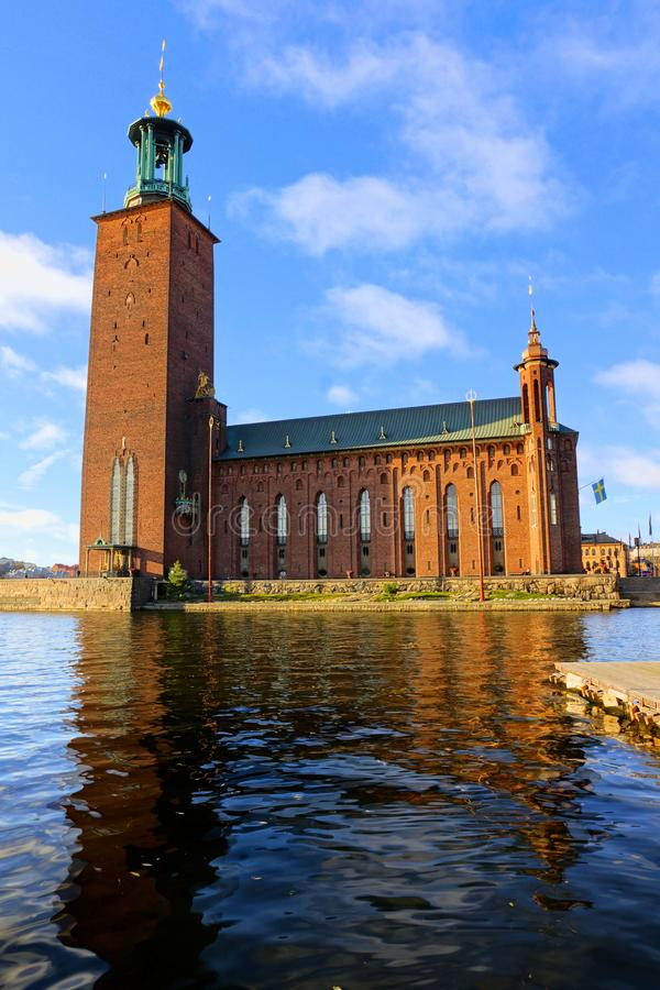 Stockholm, Sweden, view of City Hall with morning reflections stock photo