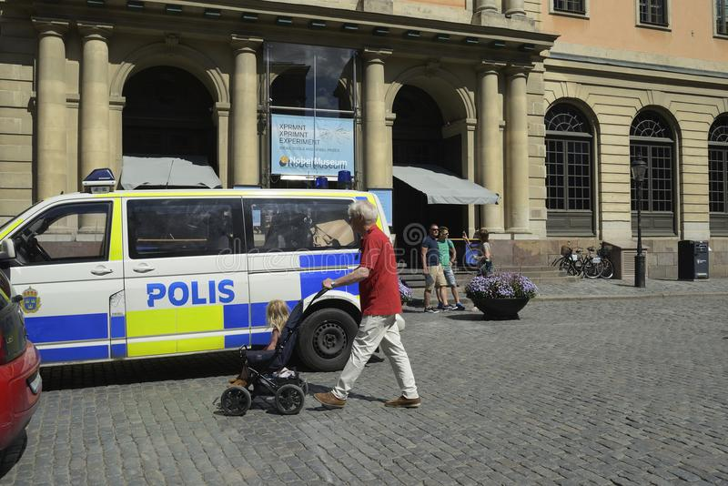 STOCKHOLM, SWEDEN – JUNE 15, 2017: police car in the center o stock photography