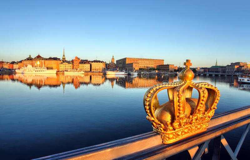 Stockholm view with crown. And a blue sky royalty free stock photos
