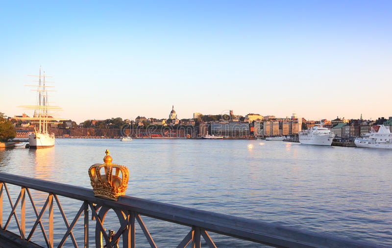 Stockholm view with crown. Photo of stockholm view with crown royalty free stock photos