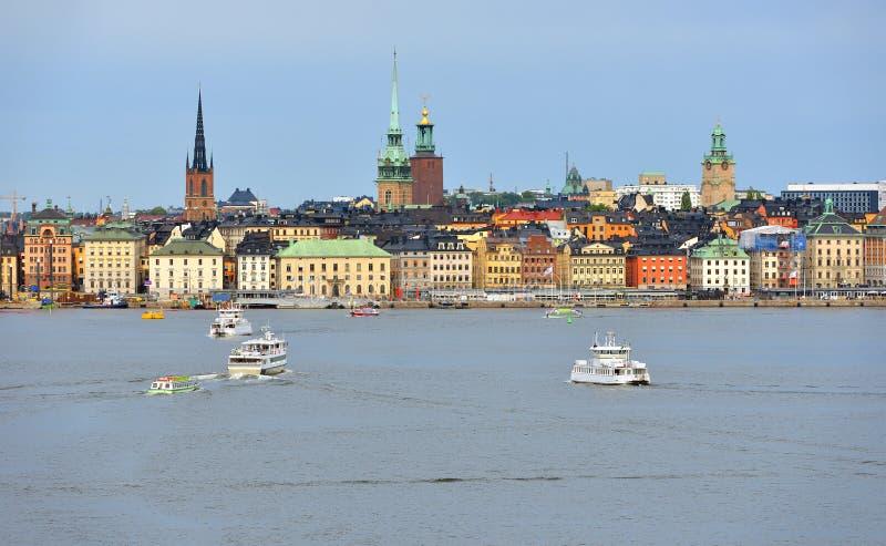 Stockholm, ville et port sweden Vue de mer photo libre de droits