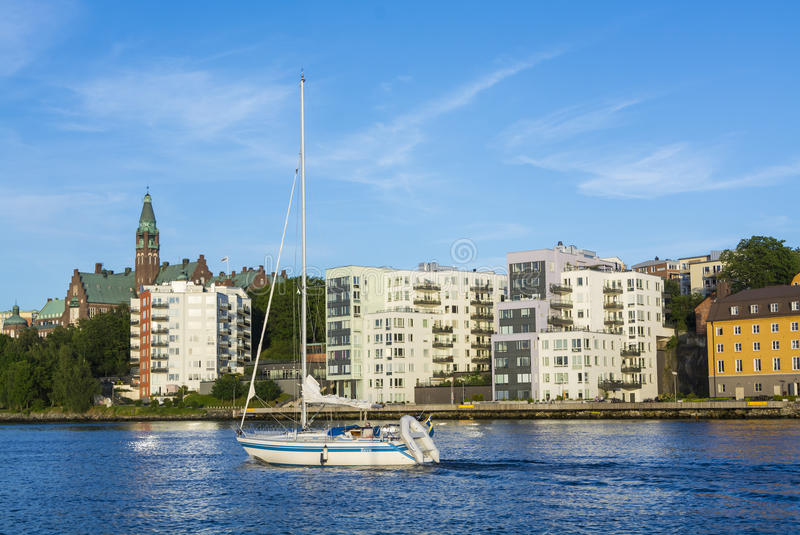 Stockholm by the water: Nacka Finnboda. Waterside residential apartment buildings in Nacka at Stockholms Ström English: The Stockholm Stream, Sweden. Nacka is royalty free stock image