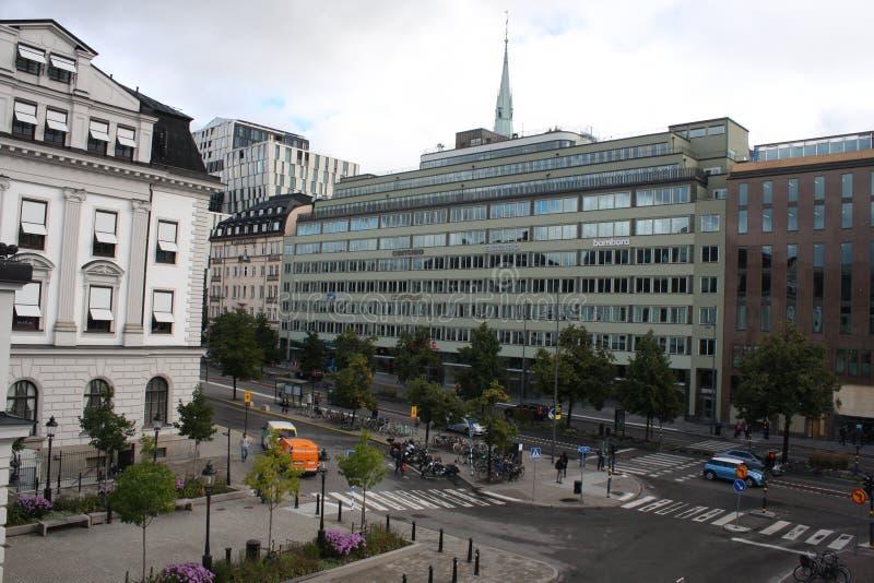 Stockholm, Zweden: 1 april 2017 - panorama van de Oude architectuur van Stadsgamla Stan in Stockholm, Zweden stock afbeeldingen