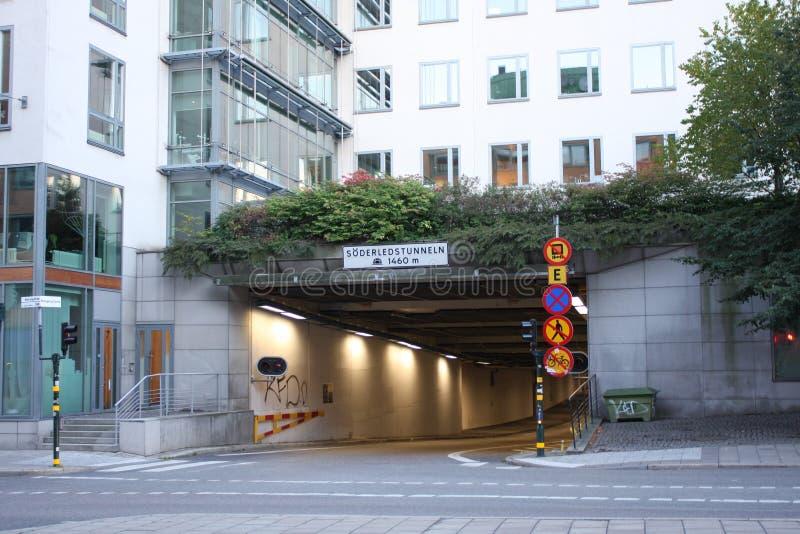Stockholm, Zweden: 1 april 2017 - Söderledstunnel Stockholm royalty-vrije stock afbeeldingen