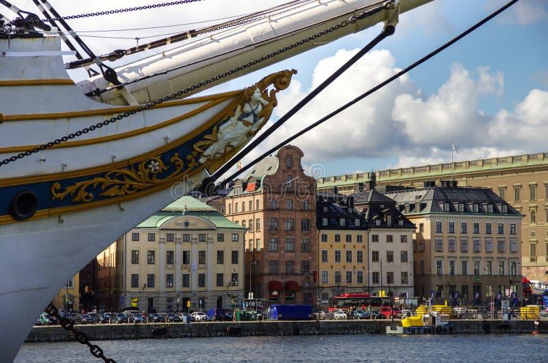 Stockholm, Zweden 22 augustus 2014: De zomerlandschap van de Oude Stad royalty-vrije stock foto's