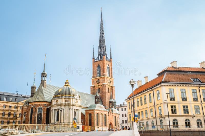 Stockholm Zweden De bouw van Riddarholm Kyrka, Riddarholm-Kerk stock foto