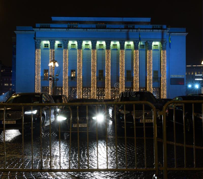 StockholmKonzertsaal an der Nobelpreis-Siegerehrung stockfotos