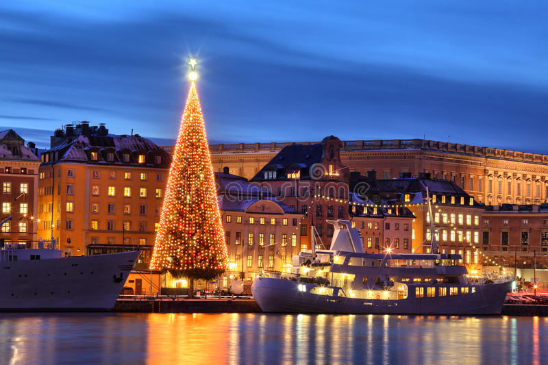 Stockholms old city with christmas tree royalty free stock photography