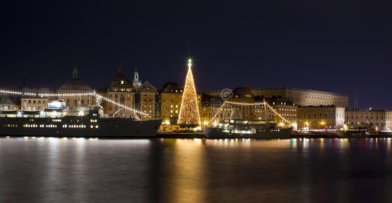 Stockholms stary miasto z choinką obraz royalty free