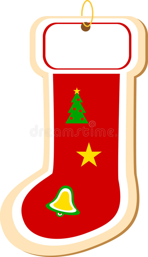 Stocking Cookie Ornament. Jpeg version of stocking shaped sugar cookie ornament stock illustration