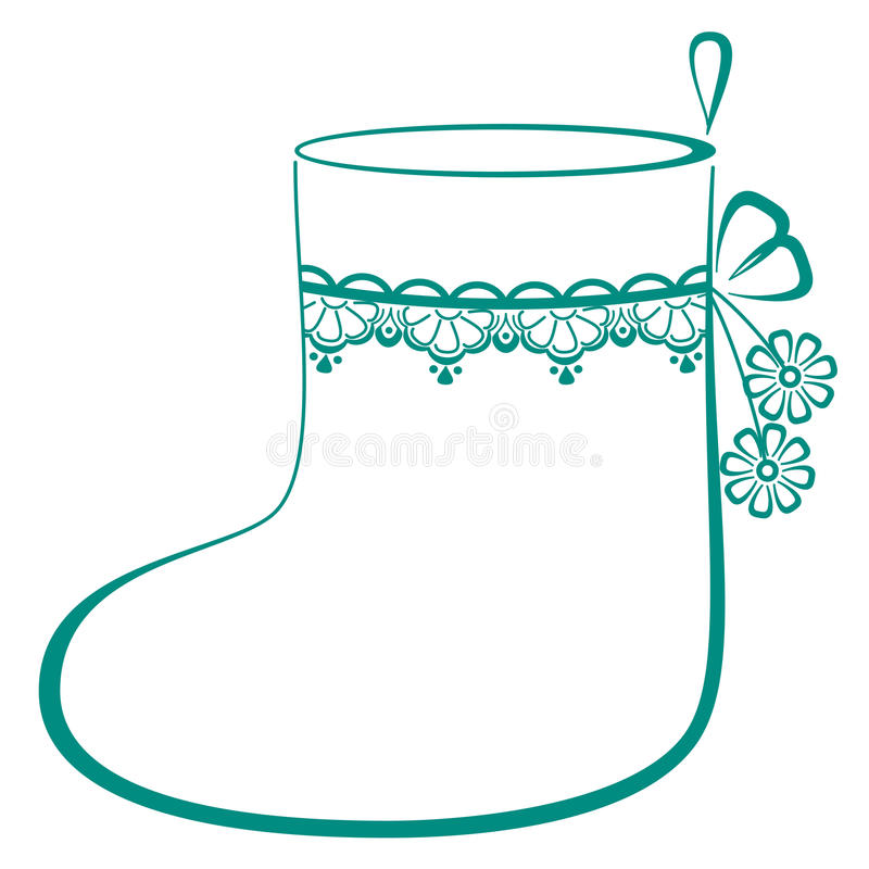 Stocking with flowers vector illustration