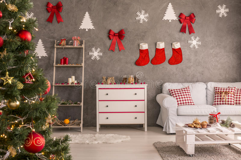 Stockings and decorations on the wall royalty free stock image