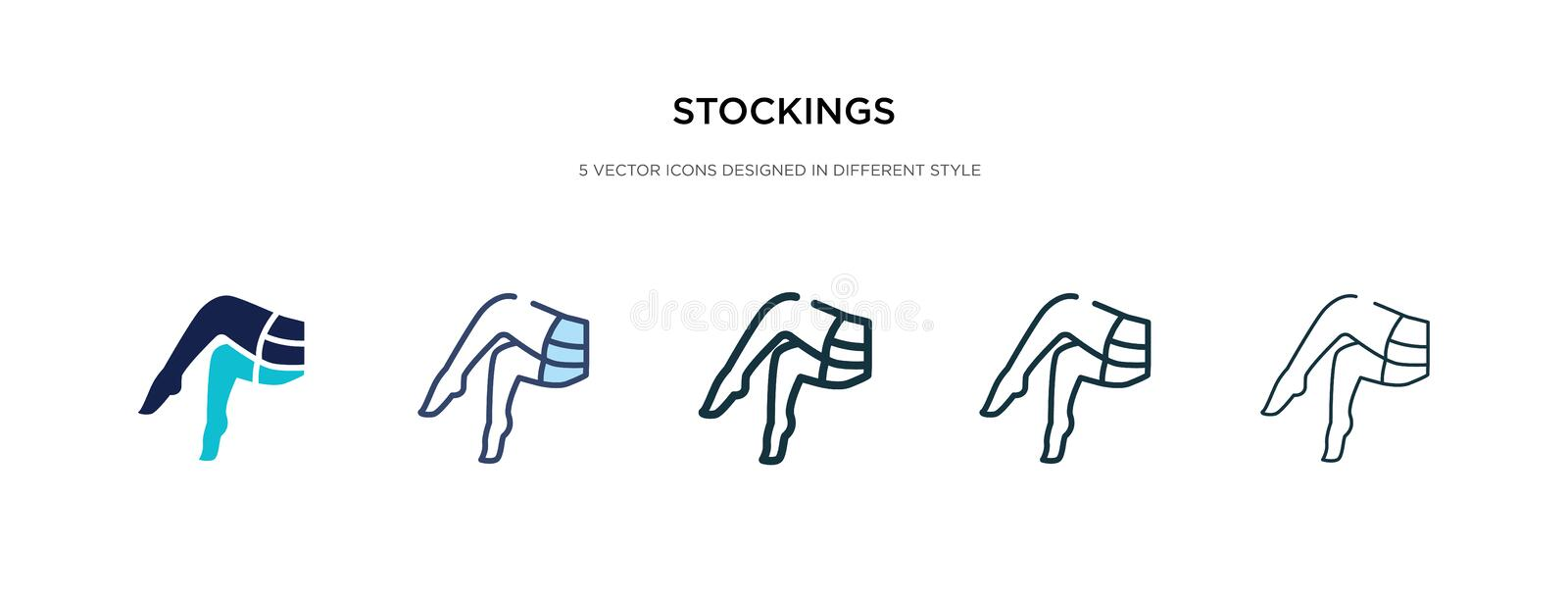 Stockings icon in different style vector illustration. two colored and black stockings vector icons designed in filled, outline,. Line and stroke style can be vector illustration