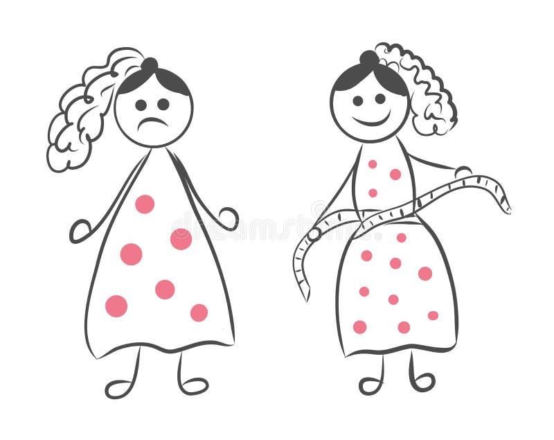 Stockmädchenfigur vor und nach Gewichtsverlust Frauen messen ihre Taille nach Gewichtsverlustvektorillustration Lustiges Gekritze lizenzfreie abbildung