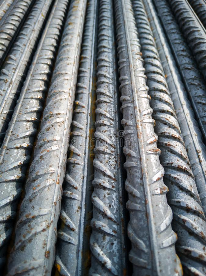 Stockpile of steel bars in construction site to execute reinforced concrete royalty free stock photo