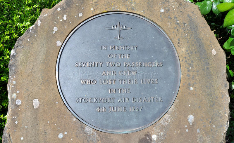 Stockport Air Disaster Memorial. Metal memorial plaque commemorating the 1967 Stockport air disaster in which 72 passenger and crew were killed, 12 survived. The stock images