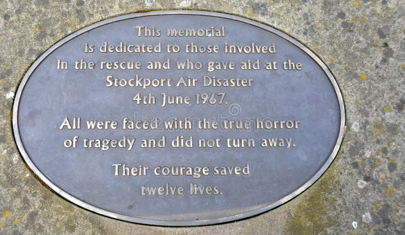 Stockport Air Disaster Memorial. Metal memorial plaque commemorating the 1967 Stockport air disaster in which 72 passenger and crew were killed, 12 survived. The royalty free stock photos