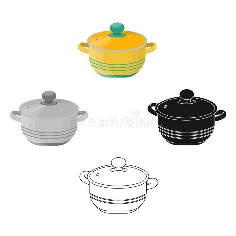 Stockpot icon in cartoon,black style isolated on white background. Kitchen symbol stock vector illustration. royalty free illustration