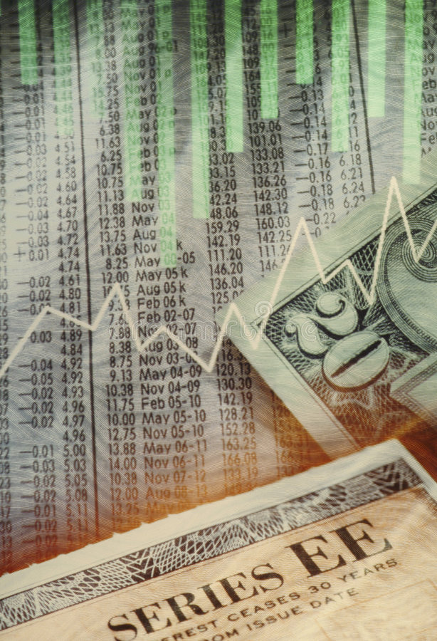Stocks Bonds Cash Collage Royalty Free Stock Photography
