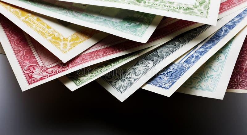 Stocks and Bonds Closeup royalty free stock photo