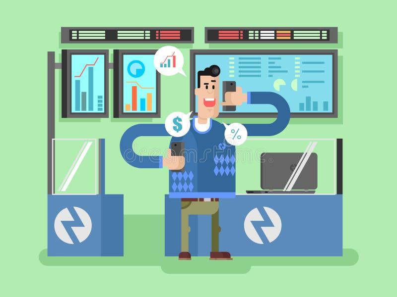 Stocks broker character. Broker finance, businessman and chart, vector illustration royalty free illustration