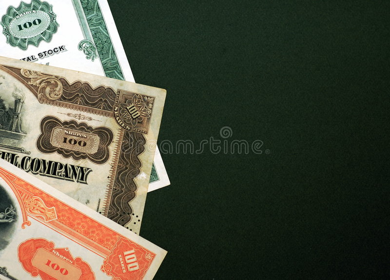 Stocks on green background royalty free stock photo