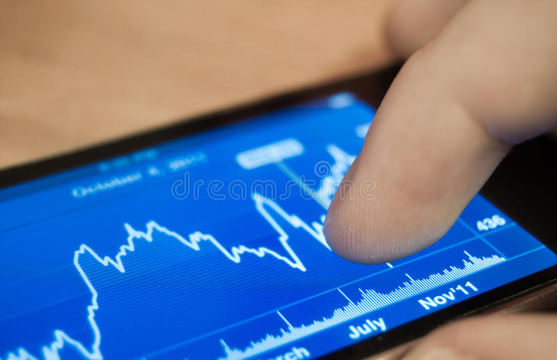 Stocks on iPhone royalty free stock image