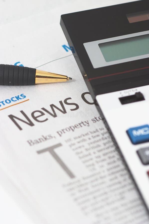 Free Stocks News, Pen, Calculator, Banks, Property Headlines Royalty Free Stock Photography - 1224737