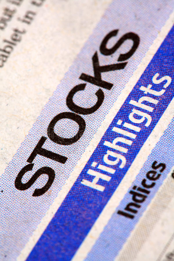 Stocks newspaper. Closeup shot of stocks newspaper stock images