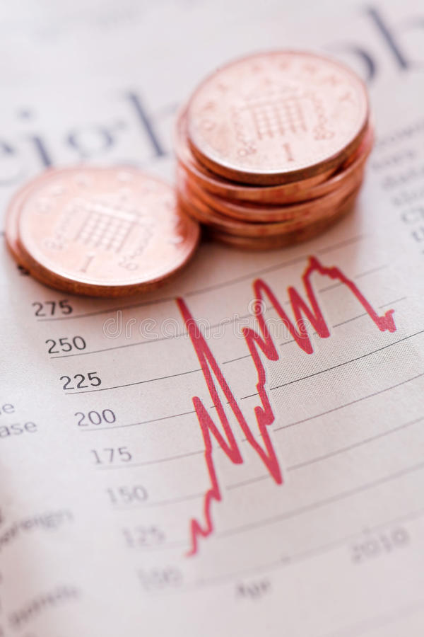 Stocks & shares. Penny shares - shallow depth of field royalty free stock photography