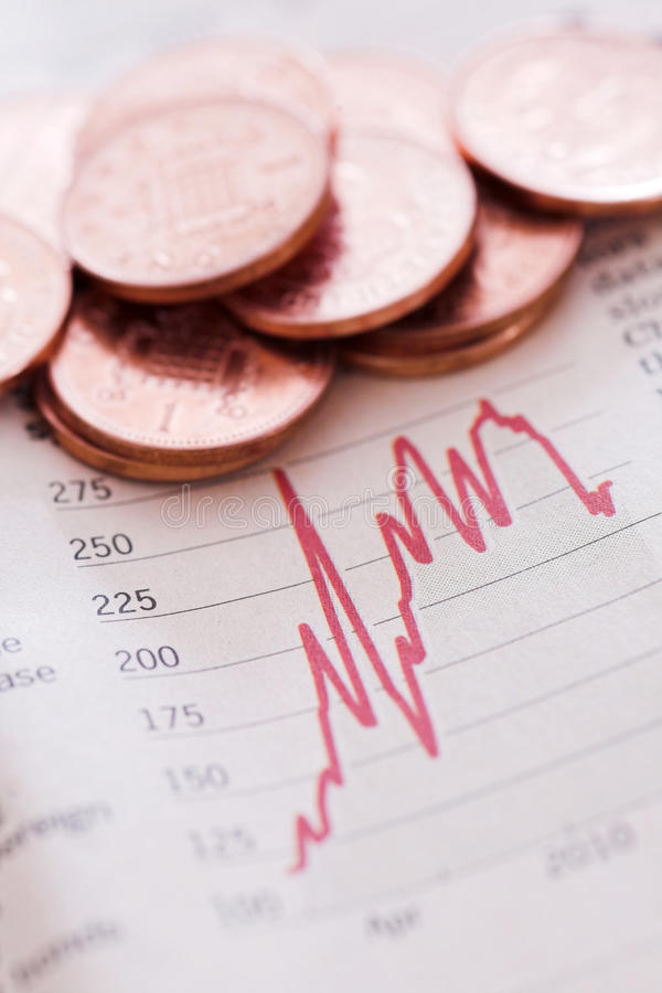 Stocks & shares. Penny shares - shallow depth of field stock image