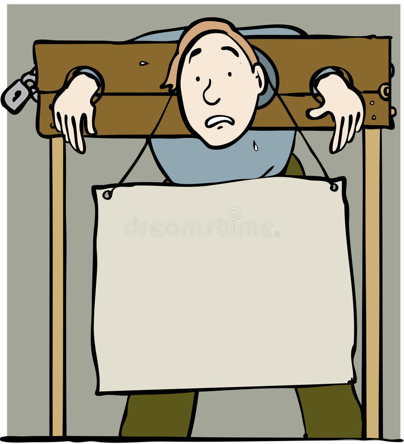 Stocks and sign. Man with sign restrained in stocks stock illustration