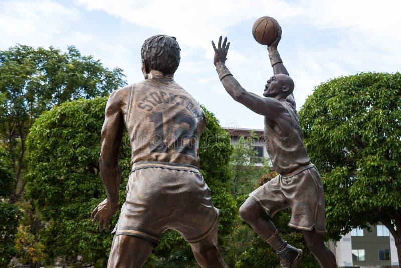 Stockton & Malone-standbeeld stock foto
