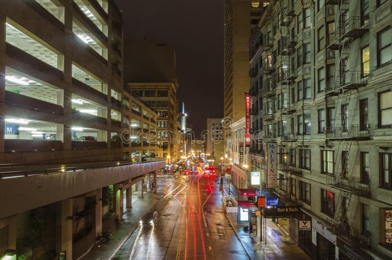 Stockton street, San Francisco. A night view of Stockton street in downtown San Francisco, California, United States of America. A view of the stores, hotels royalty free stock photo