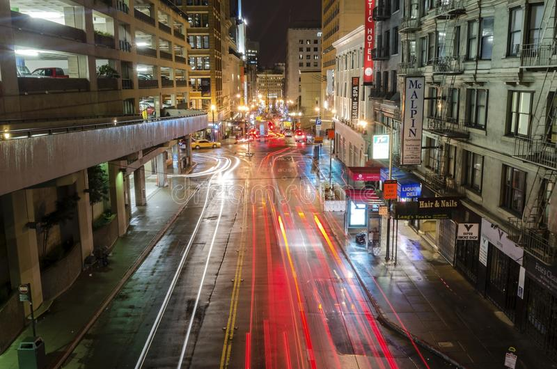 Stockton street, San Francisco. A night view of Stockton street in downtown San Francisco, California, United States of America. A view of the stores, hotels stock images