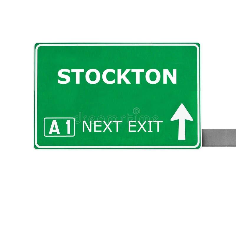 STOCKTON verkeersteken op wit worden geïsoleerd dat royalty-vrije stock afbeeldingen
