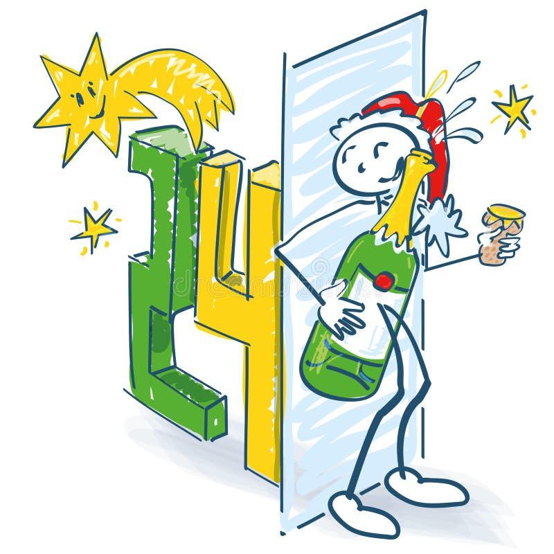 Stockzahl als Weihnachtsmann versteckt sich mit einer Sektflasche stock abbildung