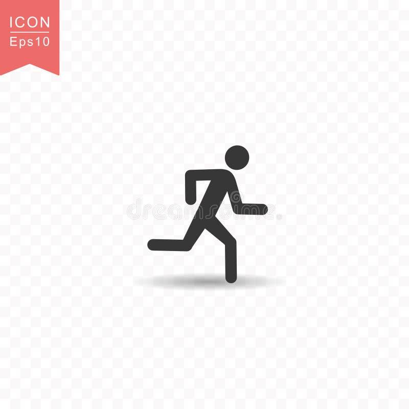 Stockzahl eine der laufenden Art-Vektorillustration Schattenbildikone des Mannes einfache flache auf transparentem Hintergrund vektor abbildung