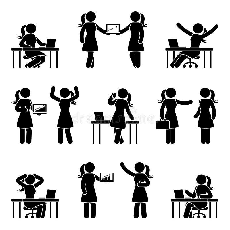 Stockzahl Geschäftsfrau-Ikonensatz Vector Illustration der Frau am Arbeitsplatz, der auf Weiß lokalisiert wird lizenzfreie abbildung