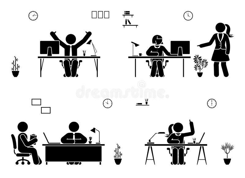 Stockzahl Geschäftslokal-Vektorikonenleute Mann und Frau, die, Lösen, über Piktogramm berichtend arbeitet stock abbildung