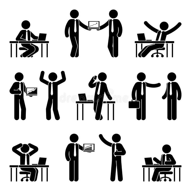 Stockzahl Geschäftsmann-Ikonensatz Vector Illustration des Mannes am Arbeitsplatz, der auf Weiß lokalisiert wird vektor abbildung