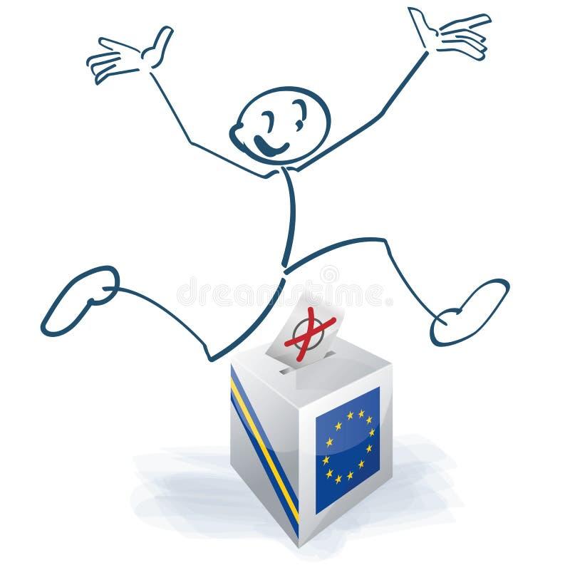 Stockzahl mit einem Sprung ?ber der europ?ischen Wahlurne stock abbildung