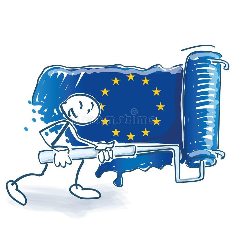 Stockzahl mit einer gro?en Farbenrolle malt die europ?ische Flagge vektor abbildung
