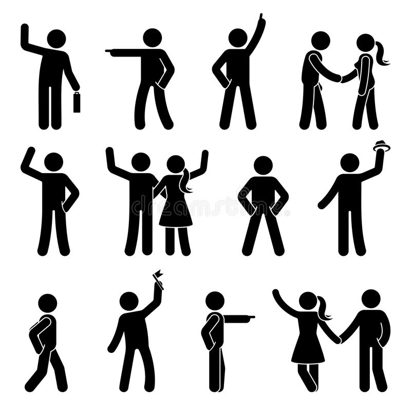 Stockzahl unterschiedlicher Armpositionssatz Zeigen des Fingers, Hände in den Taschen, wellenartig bewegendes Personenikonenlages lizenzfreie abbildung